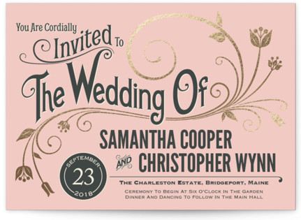 Vintage Blush Foil-Pressed Wedding Invitations