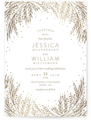 Botanical Filigree Foil-Pressed Wedding Invitations
