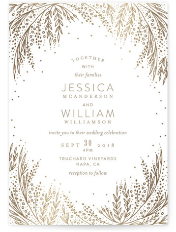 This is a portrait botanical, gold Wedding Invitations by Phrosne Ras called Botanical Filigree with Foil Pressed printing on Signature in Classic Flat Card format. A stylish elegant design in golden foil for a fancy occasion with hand drawn filigree ...