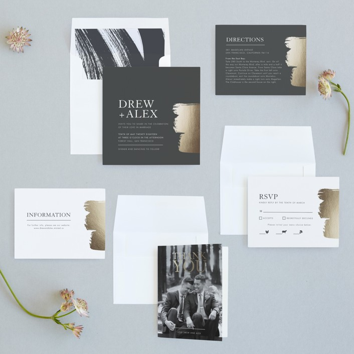 A Love So Bright Foil-Pressed Wedding Invitations by Seven Swans ...