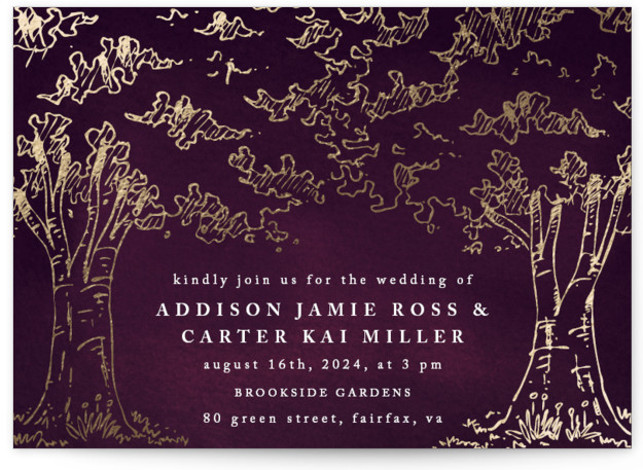 This is a landscape botanical, illustrative, rustic, whimsical, purple, gold Wedding Invitations by Qing Ji called A Poem For The Trees with Foil Pressed printing on Signature in Classic Flat Card format. An elegant and modern design featuring hand drawn ...