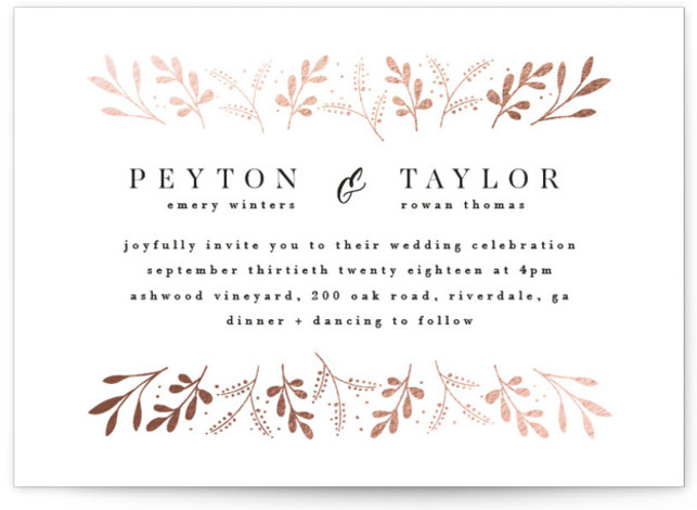 This is a landscape botanical, rustic, white, rosegold Wedding Invitations by Angela Thompson called Adorn with Foil Pressed printing on Signature in Classic Flat Card format. Delicate blooms adorn this romantic design to set the scene for an elegant and ...