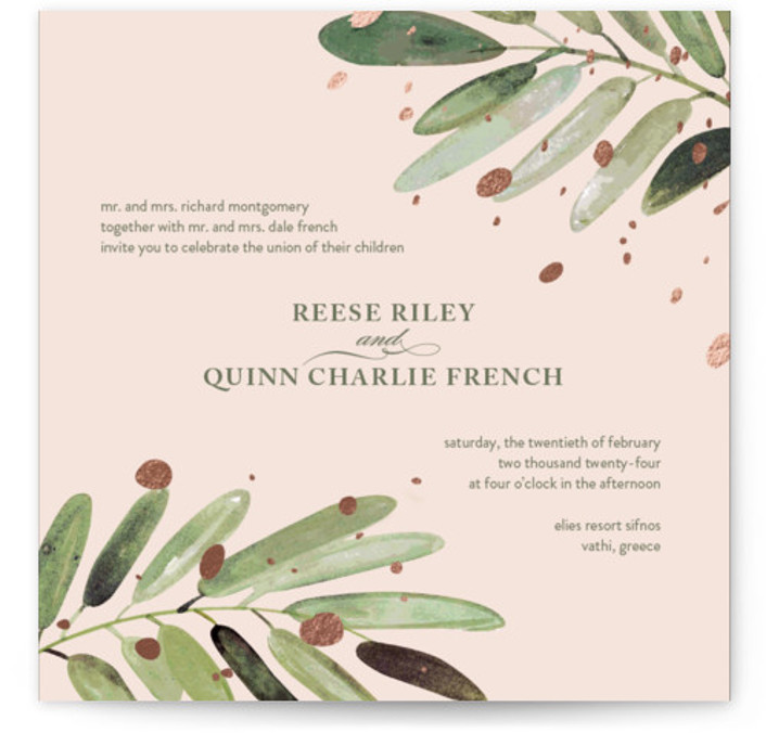 This is a square botanical, rustic, pink Wedding Invitations by Haley Warner called Al Fresco with Foil Pressed printing on Signature in Classic Flat Card format. This hand painted invitation features olive branches and foiled accents for a romantic garden ...