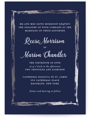 This is a portrait blue, silver Wedding Invitations by Poi Velasco called Black Tie In Border with Foil Pressed printing on Signature in Classic Flat Card format. This whimsical design features a golden border for a romantic couples wedding.