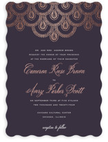 This is a purple foil stamped wedding invitation by Design Lotus called Captivating with foil-pressed printing on signature in standard.