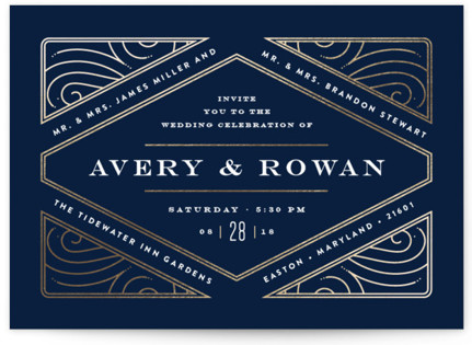 photo of Diamondback Foil Pressed Wedding Invitations