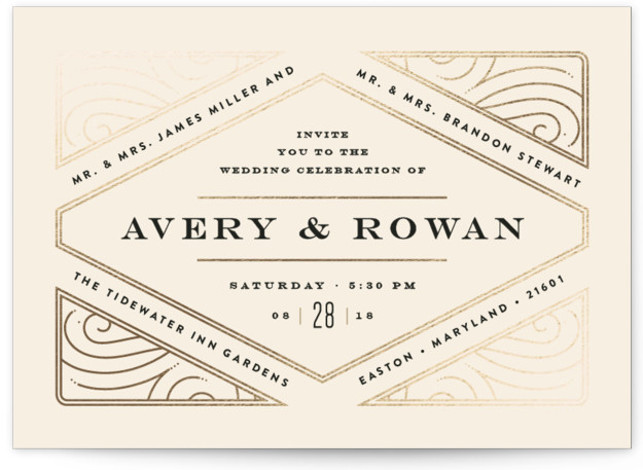 This is a landscape vintage, beige Wedding Invitations by Jennifer Wick called Diamondback with Foil Pressed printing on Signature in Classic Flat Card format. An elegant, yet playful design with the typography woven into the diamond shaped grid.
