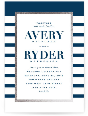 This is a portrait preppy, blue Wedding Invitations by Hooray Creative called Editorial chic with Foil Pressed printing on Signature in Classic Flat Card format. A chic black and white, striped design with editorial inspired typography.