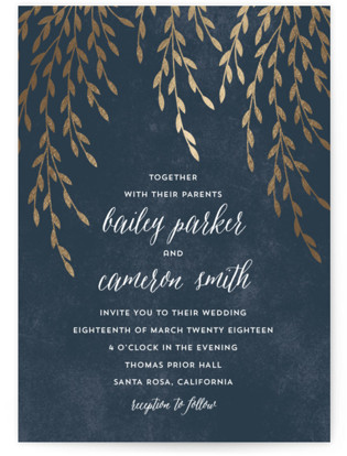 Foil Foliage Foil-Pressed Wedding Invitations