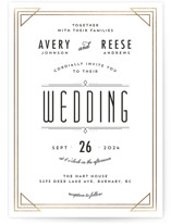 This is a white foil stamped wedding invitation by Kelly Schmidt called Framed Deco Elegance with foil-pressed printing on signature in standard.
