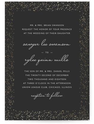 Glittered Wedding Frame Foil-Pressed Wedding Invitations