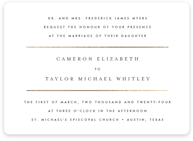 This is a black and white foil stamped wedding invitation by Fig and Cotton called Gold Bars with foil-pressed printing on signature in standard.