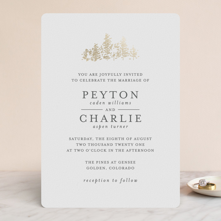 """""""Golden Pines"""" - Rustic Foil-pressed Wedding Invitations in Honey by Bethan."""
