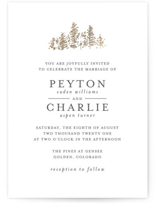 Golden Pines Foil-Pressed Wedding Invitations