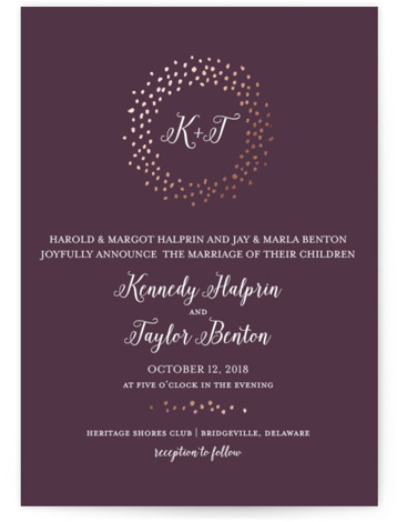 This is a portrait modern, whimsical, purple Wedding Invitations by Little Words Design called Harbor Lights with Foil Pressed printing on Signature in Classic Flat Card format. Classic with a whimsical twist, this wedding invitation incorporates handwritten fonts, painterly edges, ...