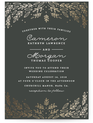 Natural Frame Foil-Pressed Wedding Invitations