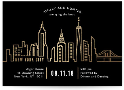 photo of Nyc City Scape Foil Pressed Wedding Invitations