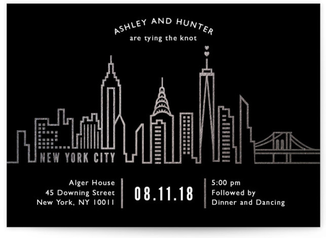 This is a landscape illustrative, modern, grey Wedding Invitations by Mansi called Nyc City Scape with Foil Pressed printing on Signature in Classic Flat Card format. A Simple Modern City Invitation in beautiful Gold Foil and Stark Black