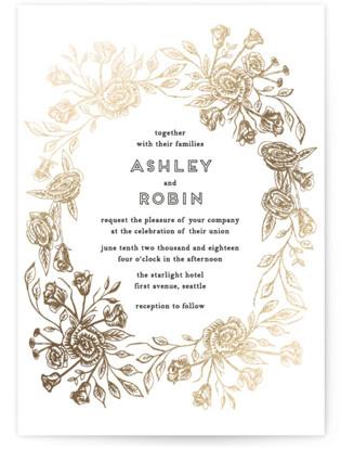 Posies Foil-Pressed Wedding Invitations