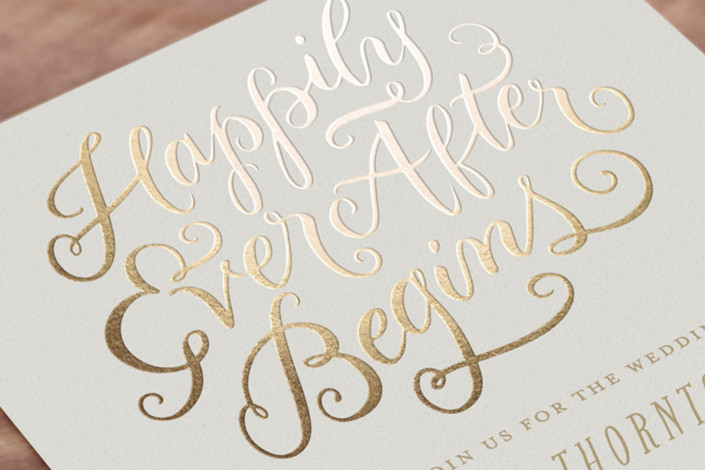 Happily Ever After Wedding Invitations: Happily Ever After Begins Foil-Pressed Wedding Invitations