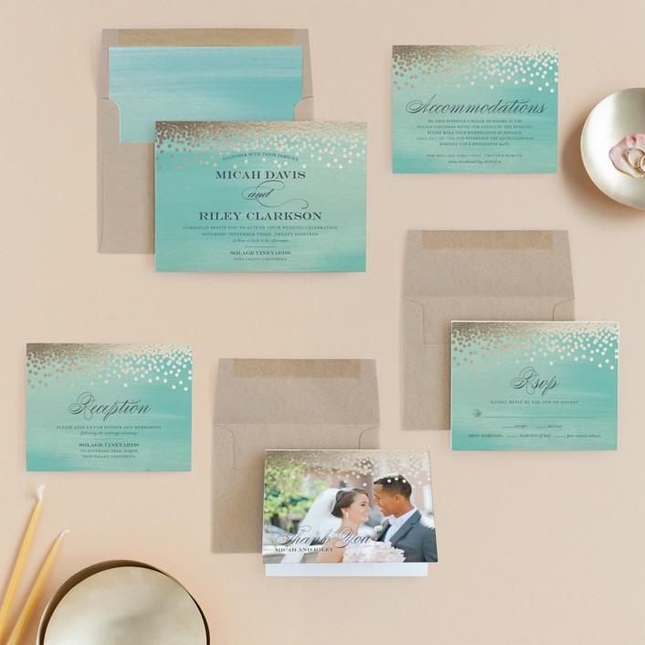 Confetti Foil-Pressed Wedding Invitations by Eric Clegg | Minted