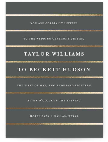 This is a portrait modern, white, grey, gold Wedding Invitations by Lauren Chism called Glam with Foil Pressed printing on Signature in Classic Flat Card format. Stripes and classic type combined in a unique layout.