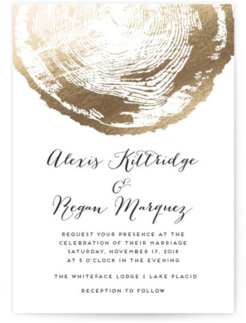 This is a portrait bohemian, rustic, white, gold Wedding Invitations by shoshin studio called Ponderosa with Foil Pressed printing on Signature in Classic Flat Card format. Gilded faux bois complements a woodlands venue or any 'back to nature' theme