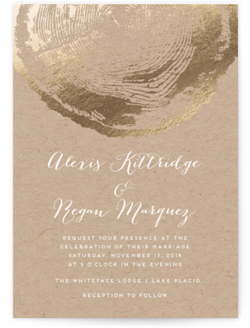 This is a portrait bohemian, rustic, brown, gold Wedding Invitations by shoshin studio called Ponderosa with Foil Pressed printing on Signature in Classic Flat Card format. Gilded faux bois complements a woodlands venue or any 'back to nature' theme