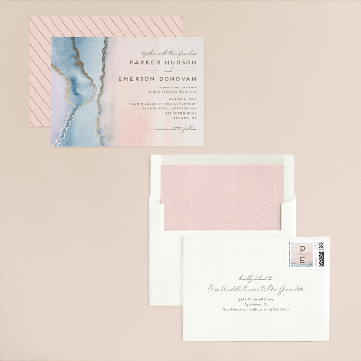 """Simple Agate"" - Modern, Rustic Foil-pressed Wedding Invitations in Cherry Blossom by Petra Kern."