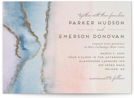 Simple Agate Foil-Pressed Wedding Invitations
