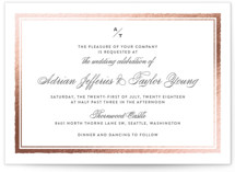 This is a rosegold foil stamped wedding invitation by Eric Clegg called Deckled Edge with foil-pressed printing on signature in standard.