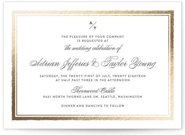 This is a landscape classical, elegant, gold Wedding Invitations by Eric Clegg called Deckled Edge with Foil Pressed printing on Signature in Classic Flat Card format. This wedding announcement features a timeless understated look with a deckled edge frame and ...
