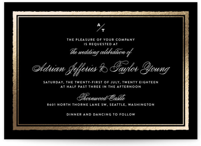This is a landscape classical, elegant, black Wedding Invitations by Eric Clegg called Deckled Edge with Foil Pressed printing on Signature in Classic Flat Card format. This wedding announcement features a timeless understated look with a deckled edge frame and ...