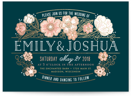 Country Florals Foil-Pressed Wedding Invitations