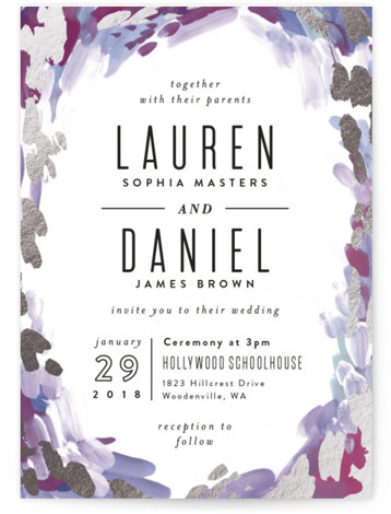 This is a portrait bohemian, painterly, purple Wedding Invitations by Alethea and Ruth called Gallery Abstract Art with Foil Pressed printing on Signature in Classic Flat Card format. This wedding invite features abstract art framing clean typography.