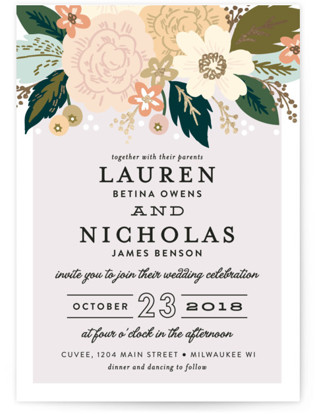 Classic Floral Foil-Pressed Wedding Invitations