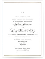 This is a yellow foil stamped wedding invitation by Toast & Laurel called Field with foil-pressed printing on signature in standard.
