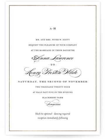 This is a landscape, portrait classic and formal, classical, elegant, floral, simple, simple and minimalist, traditional, gold Wedding Invitations by Toast & Laurel called Field with Foil Pressed printing on Signature in Classic Flat Card format. Understated and elegant, this ...
