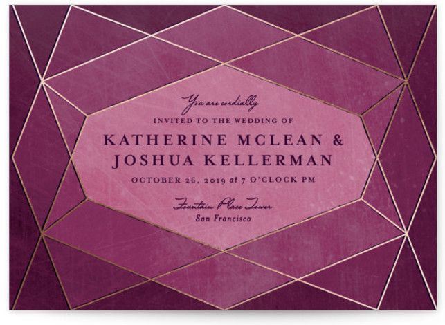 This is a landscape abstract geometric, geometric, modern, purple Wedding Invitations by Rebecca Bowen called Abstract Jewel with Foil Pressed printing on Signature in Classic Flat Card format. Faceted illusions make this jewel themed invitation stand out from the stack ...