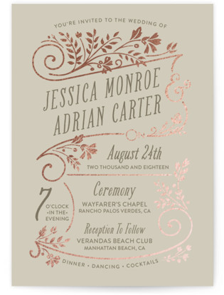 Delicate Blooms Foil-Pressed Wedding Invitations