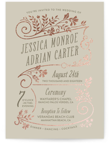 This is a portrait botanical, rustic, grey Wedding Invitations by GeekInk Design called Delicate Blooms with Foil Pressed printing on Signature in Classic Flat Card format. Soft and delicate florals fill and frame this spring inspired wedding invite.