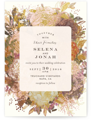Floral Feast Foil-Pressed Wedding Invitations