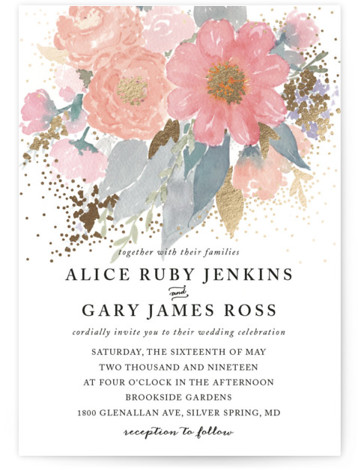 This is a portrait floral, hand drawn, pink Wedding Invitations by Qing Ji called fresh watercolor floral with Foil Pressed printing on Signature in Classic Flat Card format. Fresh and bold, this invitation features hand painted watercolor flowers, with elegant ...