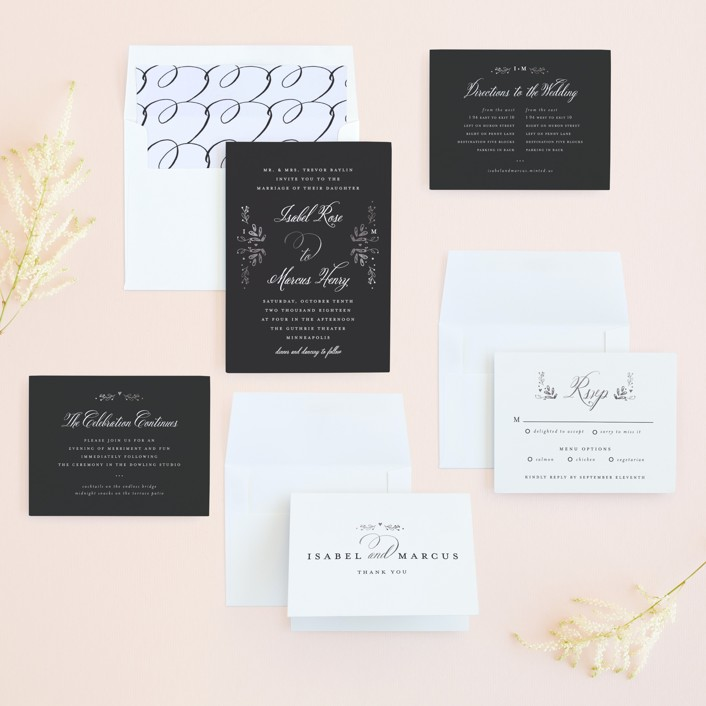 Tiny Initials Foil-Pressed Wedding Invitations by Susan Brown | Minted