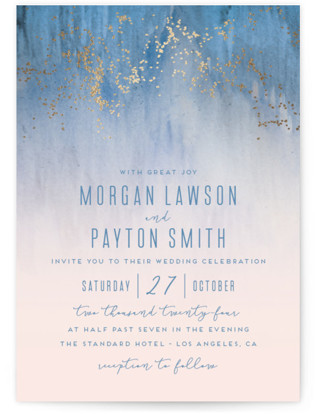 photo of Midsummer Night Foil Pressed Wedding Invitations