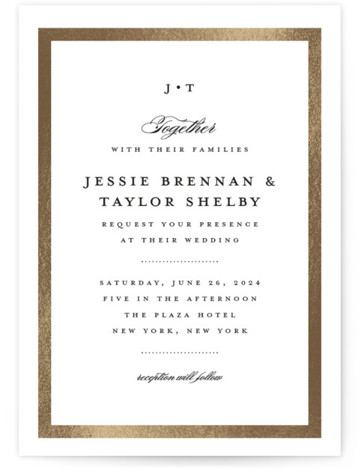 This is a portrait preppy, simple, traditional, gold Wedding Invitations by Stacey Meacham called Lasting love with Foil Pressed printing on Signature in Classic Flat Card format. A timeless wedding invitation with couples monogram, simple gold frame and restrained script ...