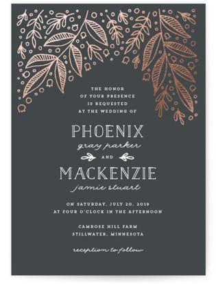 Bridal Botanicals Foil-Pressed Wedding Invitations