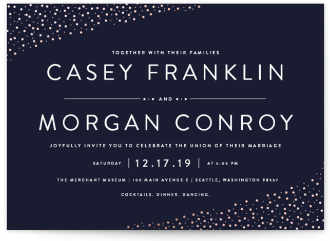 This is a landscape traditional, blue, gold Wedding Invitations by Robinson Paperie called Modern Glam with Foil Pressed printing on Signature in Classic Flat Card format. Simple, clean and monochromatic invitation for the artistic and modern couple. Edgy but with ...