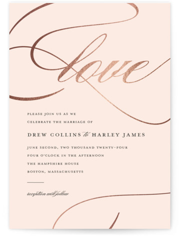 This is a portrait traditional, grey, pink, rosegold Wedding Invitations by Stacey Meacham called So in Love with Foil Pressed printing on Signature in Classic Flat Card format. An elegant wedding invitation with large love calligraphy and romantic flourishes.