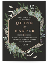 This is a black foil stamped wedding invitation by Susan Moyal called Succulent Surround with foil-pressed printing on signature in standard.